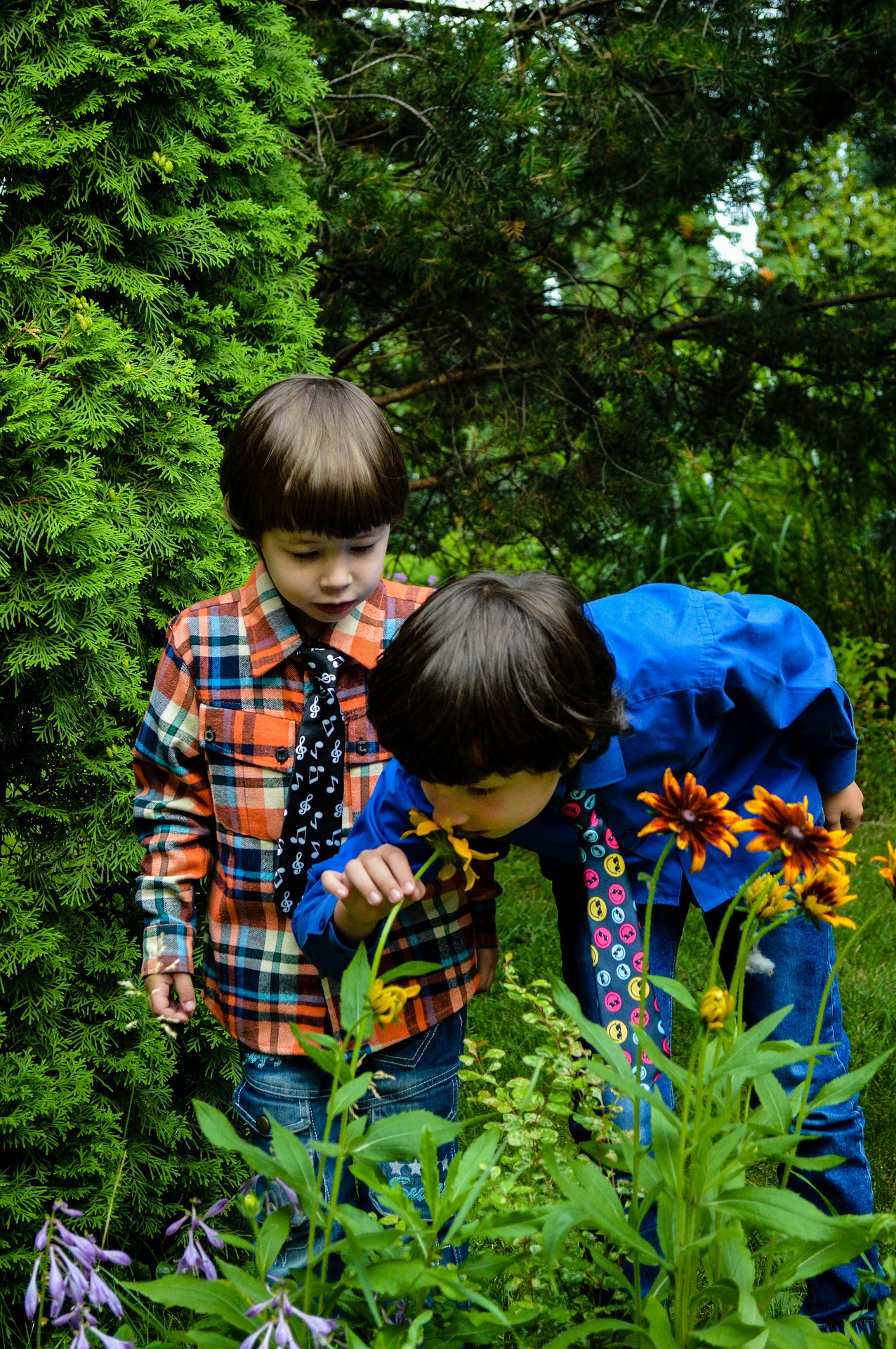 Kids sniffing flower in garden