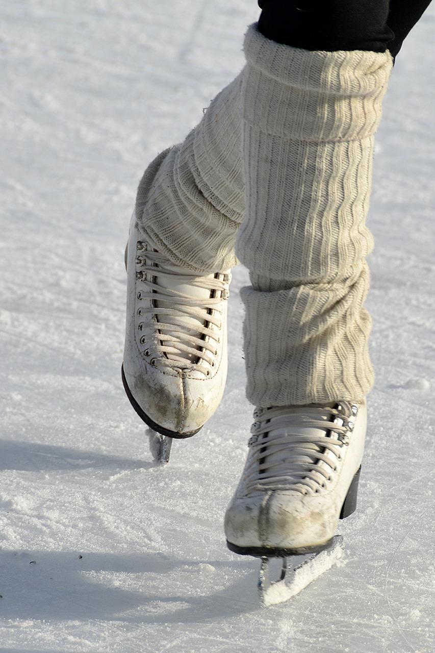 Ice skates on ice rink